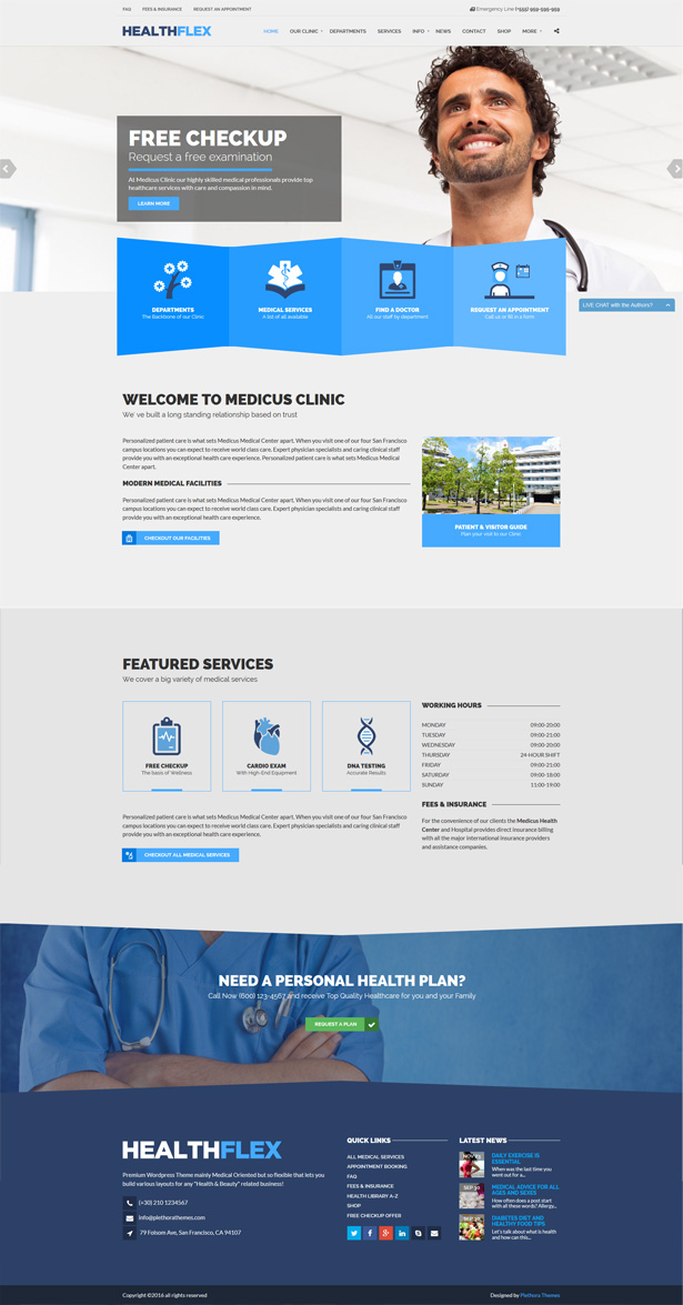 HEALTHFLEX - Medical And Health WordPress Theme